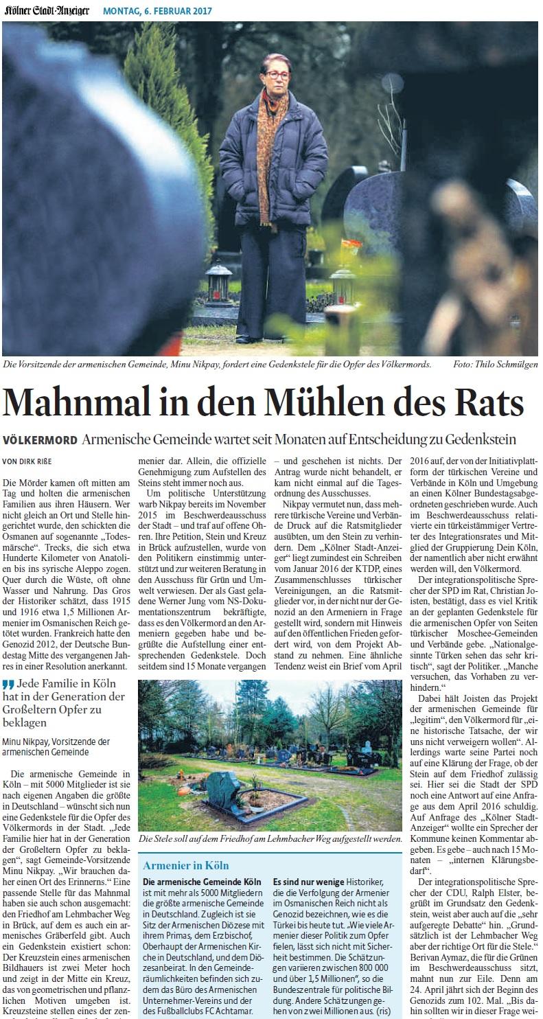 20170206_KStA_Mahnmal in den Mühlen des Rats